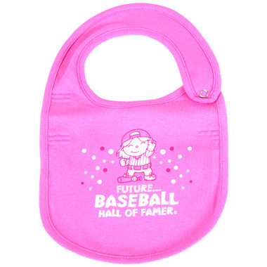 Baseball Hall of Fame Pink Baby Bib