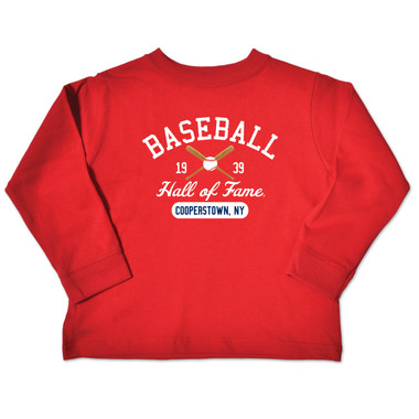 Toddler Baseball Hall of Fame Red 1939 Crossed Bats Longsleeve T-Shirt