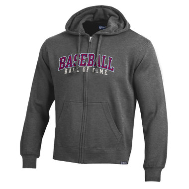 Men's Baseball Hall of Fame Charcoal Gray Basic Full-Zip Hoodie