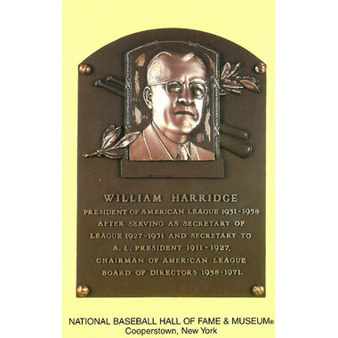William Harridge Baseball Hall of Fame Plaque Postcard