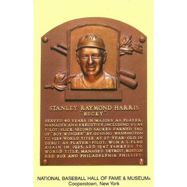 Bucky Harris Baseball Hall of Fame Plaque Postcard