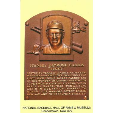 Bucky Harris Baseball Hall of Fame Plaque Postcard