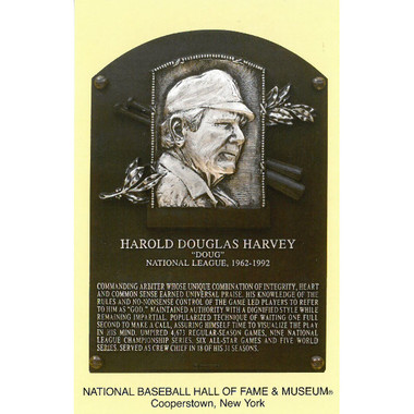 Doug Harvey Baseball Hall of Fame Plaque Postcard