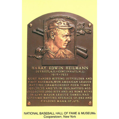 Harry Heilmann Baseball Hall of Fame Plaque Postcard