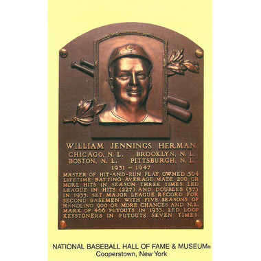 Billy Herman Baseball Hall of Fame Plaque Postcard