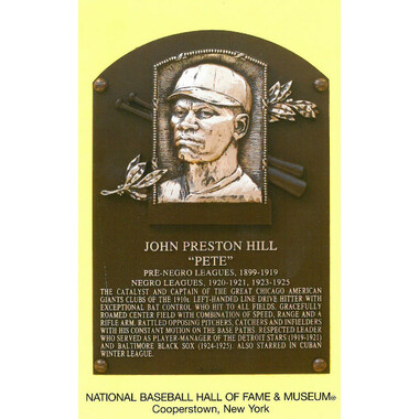 Pete Hill Baseball Hall of Fame Plaque Postcard