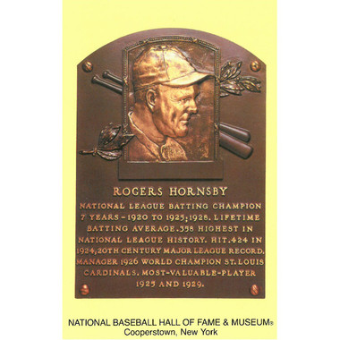 Rogers Hornsby Baseball Hall of Fame Plaque Postcard