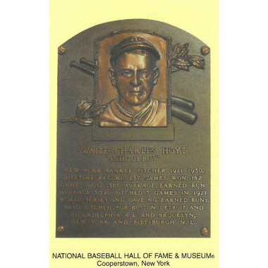 Waite Hoyt Baseball Hall of Fame Plaque Postcard
