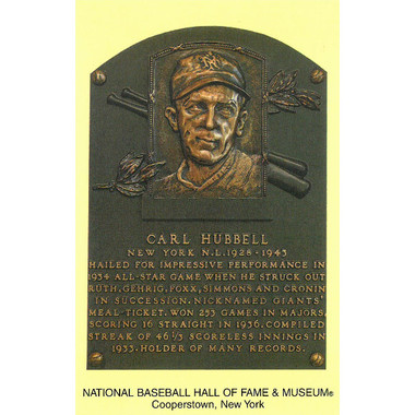 Carl Hubbell Baseball Hall of Fame Plaque Postcard