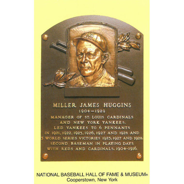 Miller Huggins Baseball Hall of Fame Plaque Postcard