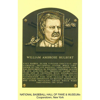 William Hulbert Baseball Hall of Fame Plaque Postcard