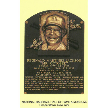 Reggie Jackson Baseball Hall of Fame Plaque Postcard