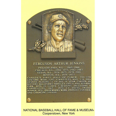 Fergie Jenkins Baseball Hall of Fame Plaque Postcard