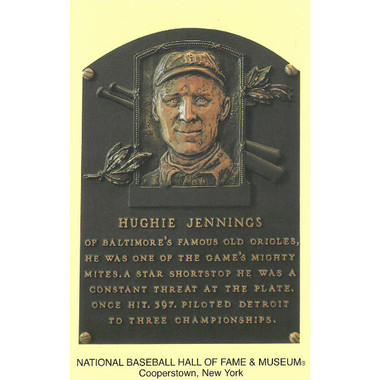 Hugh Jennings Baseball Hall of Fame Plaque Postcard