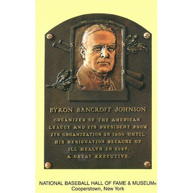 Ban Johnson Baseball Hall of Fame Plaque Postcard