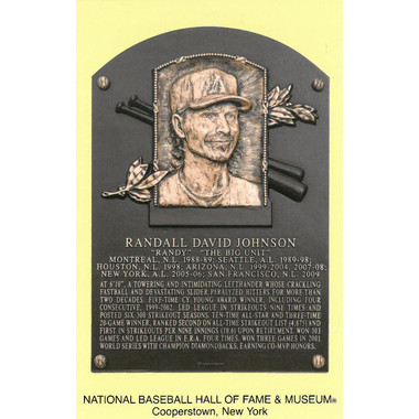 Randy Johnson Baseball Hall of Fame Plaque Postcard