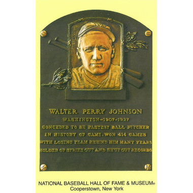 Walter Johnson Baseball Hall of Fame Plaque Postcard