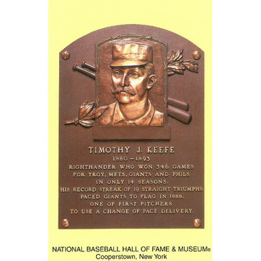Tim Keefe Baseball Hall of Fame Plaque Postcard