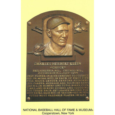 Chuck Klein Baseball Hall of Fame Plaque Postcard