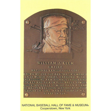 Bill Klem Baseball Hall of Fame Plaque Postcard