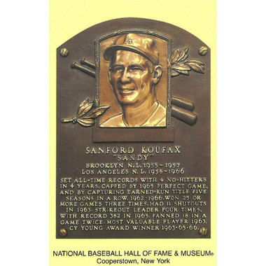 Sandy Koufax Baseball Hall of Fame Plaque Postcard