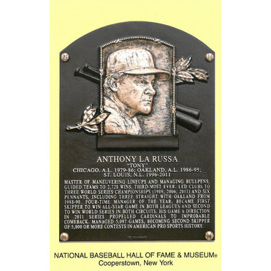 Tony La Russa Baseball Hall of Fame Plaque Postcard