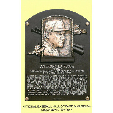 Tony La Russa Baseball Hall of Fame Plaque Postcard