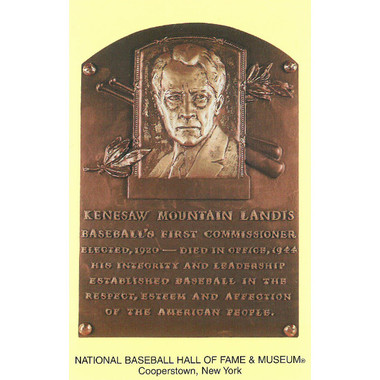 Kenesaw Landis Baseball Hall of Fame Plaque Postcard