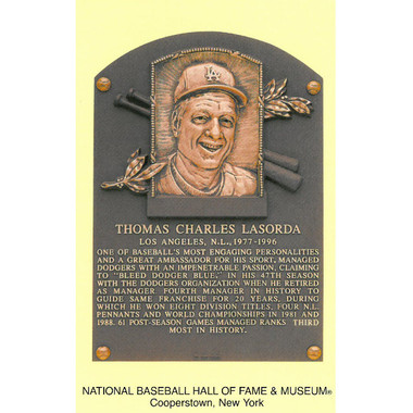 Tom Lasorda Baseball Hall of Fame Plaque Postcard