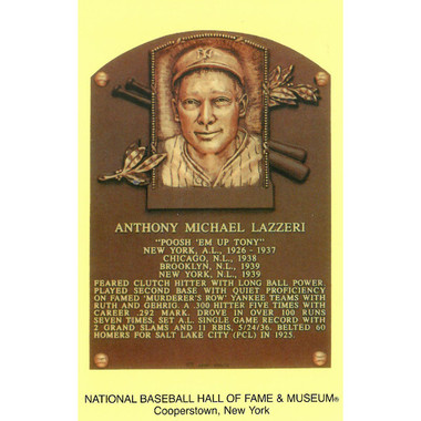 Tony Lazzeri Baseball Hall of Fame Plaque Postcard