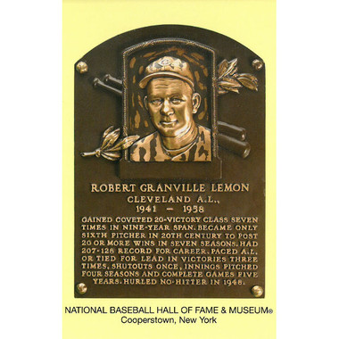 Bob Lemon Baseball Hall of Fame Plaque Postcard