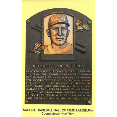 Al Lopez Baseball Hall of Fame Plaque Postcard