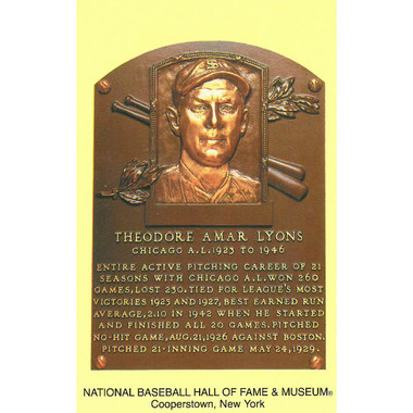 Ted Lyons Baseball Hall of Fame Plaque Postcard