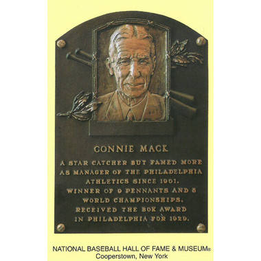 Connie Mack Baseball Hall of Fame Plaque Postcard