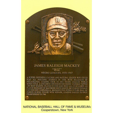 Biz Mackey Baseball Hall of Fame Plaque Postcard