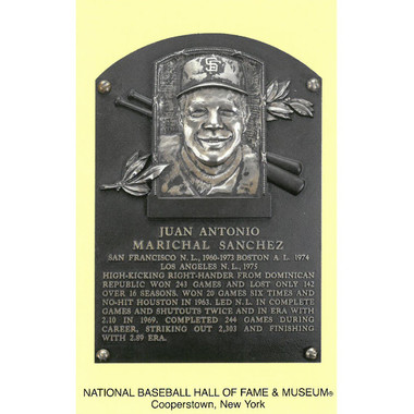 Juan Marichal Baseball Hall of Fame Plaque Postcard