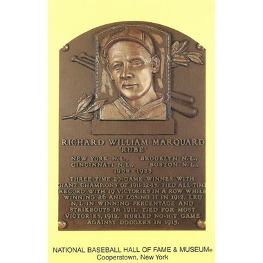 Rube Marquard Baseball Hall of Fame Plaque Postcard