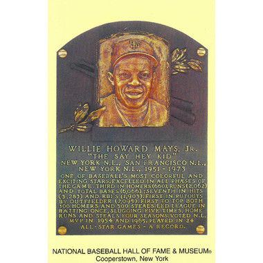 Willie Mays Baseball Hall of Fame Plaque Postcard
