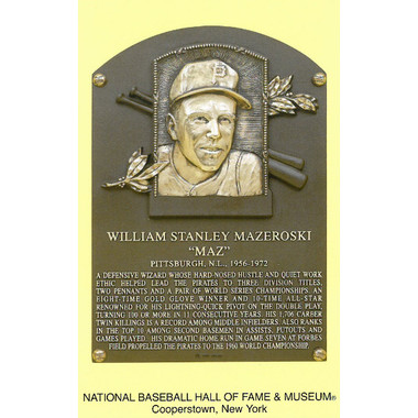 Bill Mazeroski Baseball Hall of Fame Plaque Postcard