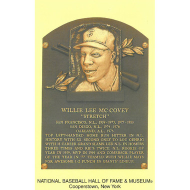 Willie McCovey Baseball Hall of Fame Plaque Postcard