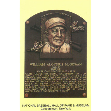 Bill McGowan Baseball Hall of Fame Plaque Postcard