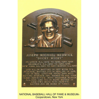 Joe Medwick Baseball Hall of Fame Plaque Postcard