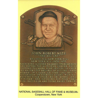 Johnny Mize Baseball Hall of Fame Plaque Postcard