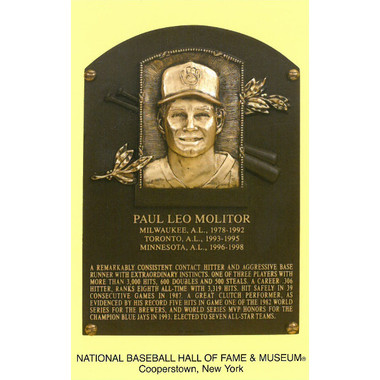 Paul Molitor Baseball Hall of Fame Plaque Postcard
