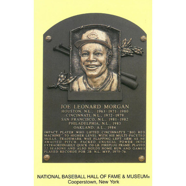 Joe Morgan Baseball Hall of Fame Plaque Postcard