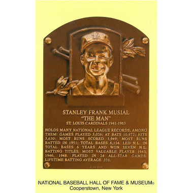 Stan Musial Baseball Hall of Fame Plaque Postcard