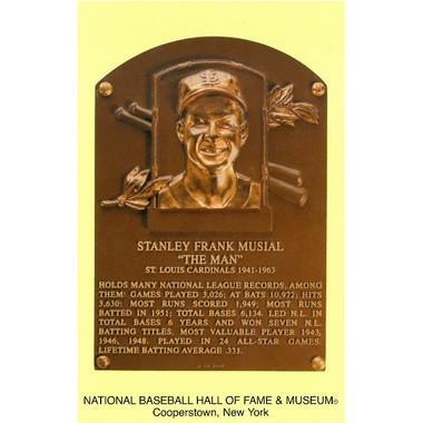 Stan Musial Baseball Hall of Fame Plaque Postcard