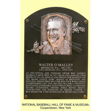 Walter O'Malley Baseball Hall of Fame Plaque Postcard