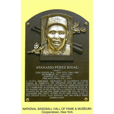 Tony Perez Baseball Hall of Fame Plaque Postcard