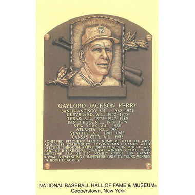 Gaylord Perry Baseball Hall of Fame Plaque Postcard